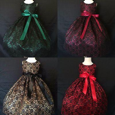 Black Lace Girls Christmas Dress Flower Girl Floral Vintage Christmas Holiday#34](Black Flower Girl Dresses)
