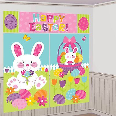 HAPPY EASTER SCENE SETTER PARTY DECORATION BUNNY EGGS RABBIT PHOTO PROP POSTER - Easter Scene Setters