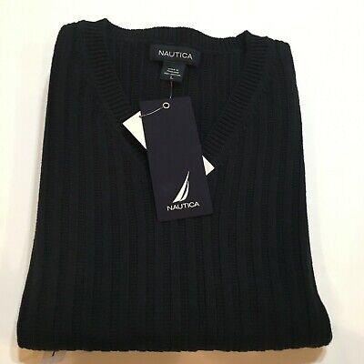 NWT Nautica Sweater Vest Men's Large 100% Cotton Navy Blue MSRP $53
