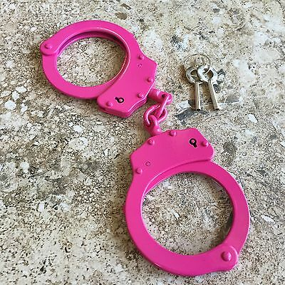 PINK Steel Hand Handcuffs Police Double Locking Real Lock Cuffs with 2 key 15920