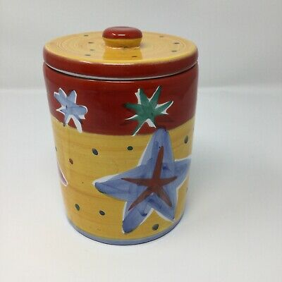 Habitat Ceramic Pot With Lid Bathroom/Kitchen Stars Made In Italy for sale  Penarth