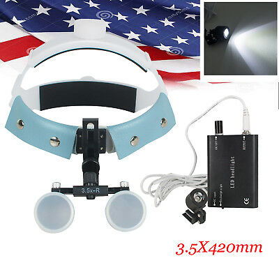 Headband Dental Surgical Binocular Loupes Glass Magnifier 3.5x 420mm Led Light