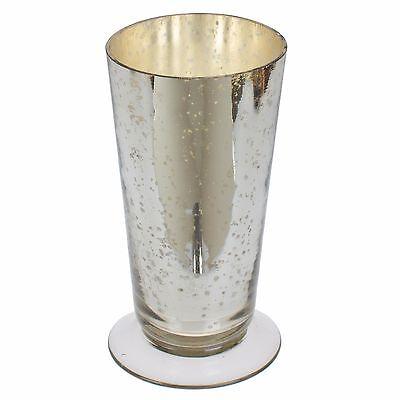 """160604 6"""" Mercury Glass Short Silver Flower Vase"""