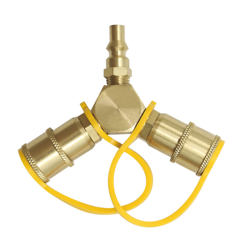 """1/4"""" RV Propane Quick Connect Y Splitter Adapter for Trailer and Hose BBQ US"""