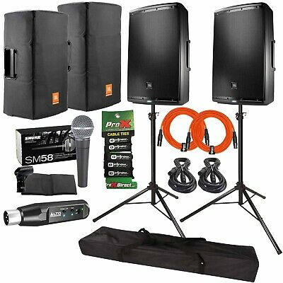 "JBL Professional EON615 15"" Powered DJ PA Speakers + Covers"