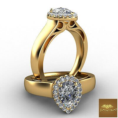 Halo U Cut Pave Filigree Design Pear Diamond Engagement Ring GIA F VS1 0.70 Ct