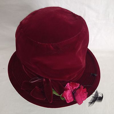 VTG Henry Margu Floral Feather Solid Red Cotton Velour Hat Size M - Velour Hat