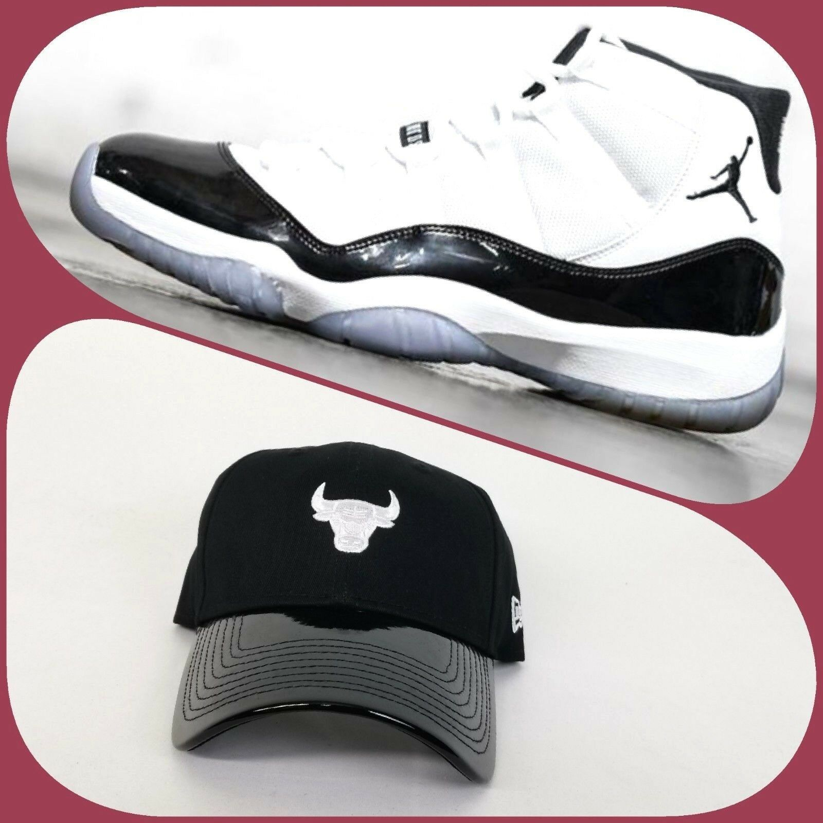 001170877b47 Details about New Era Black Chicago Bulls 9Twenty Curve Dad hat Jordan 11  Concord