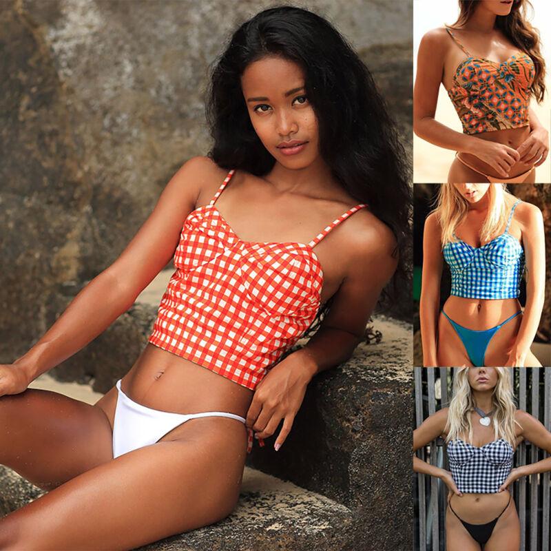 Damen Bikini Set Bademode Badeanzug Schwimmanzug Gepolsterter Crop Top G-String