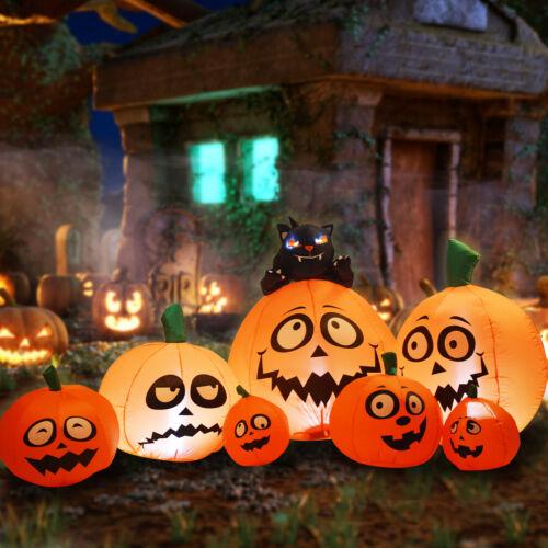 GOOSH 8FT Halloween Inflatable Outdoor Pumpkin Family Blow up Decoration