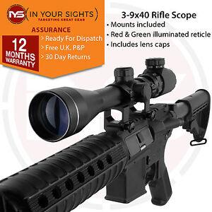 Airsoft sniper 3-9x40 Rifle scope with 20mm Weaver mounts. Airgun riflescope