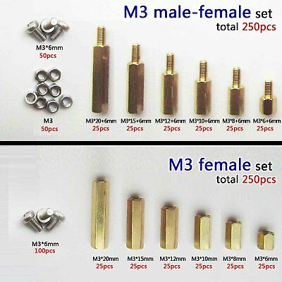 250pc Solid Brass M2 M3 Hex Column Standoff Spacer Screw Nut Assortment Kit Pcb