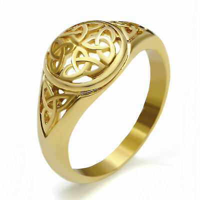 Women Gold Hollow Celtic Knot Trinity Stainless Steel Engagement Promise Ring - Gold Trinity Knot Ring