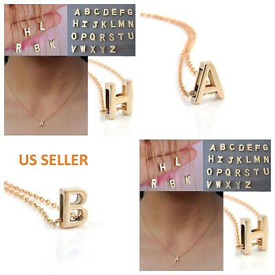 Women Gold/Silver Plated Alphabet Letter A-Z Pendant Chain Necklace Jewelry