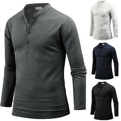 Sleeve V-neck Henley (Mens Slim Fit Stylish Henley V Neck Long Sleeve Tee T-shirt Top Blouse W03 S/M)