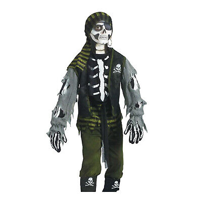 Child Boy's Undead Haunted Skeleton Sea Caribbean Zombie Pirate Costume L