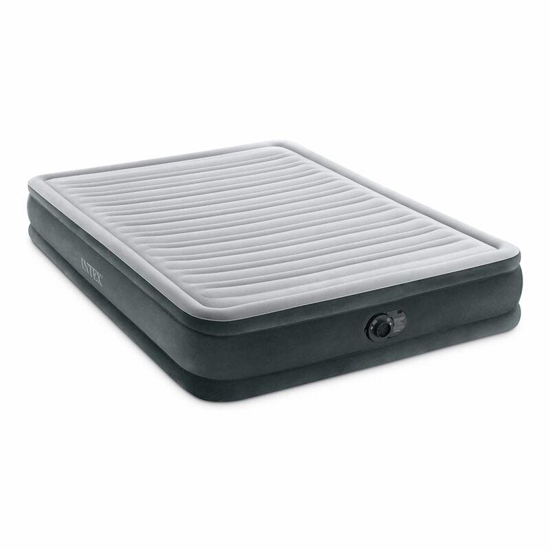 Intex Comfort Deluxe Plush Air Mattress Bed with Built-In Pump, Queen (Open Box)