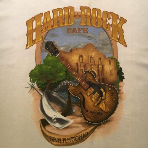 white HARD ROCK CAFE t-shirt--SAN ANTONIO alamo spur--TWO SIDED--NEW NWT--(L)