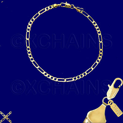 24k Gold Plated Bracelet (NEW 24K HEAVY GOLD PLATED 3mm FIGARO 8