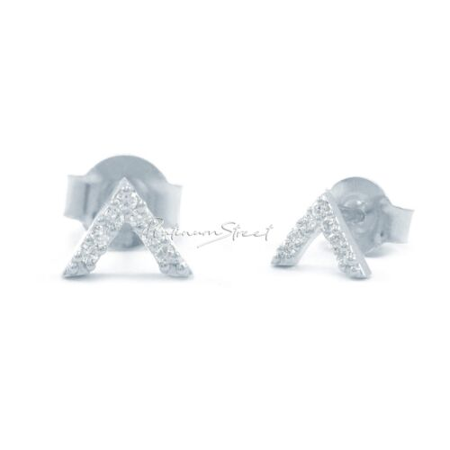 950 Platinum 0.09 Ct. Genuine Diamonds V Shape Triangle Fine Studs Earrings - $179.00