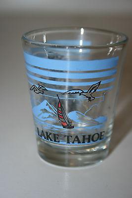 "NICE Shot Glass ""Lake Tahoe"" California Nevada Sail Boat Mountains Trees Mint"