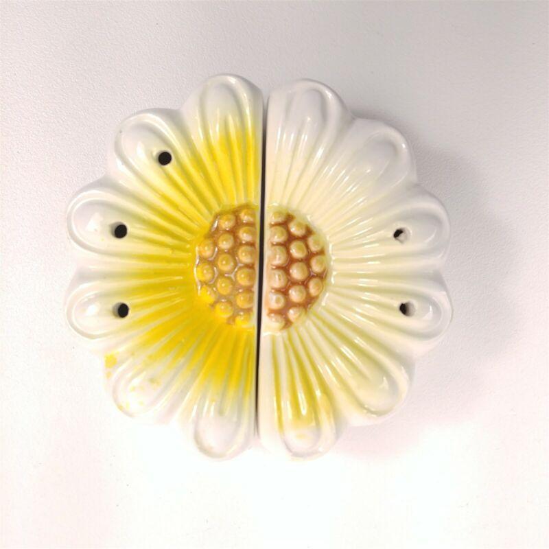 Ceramic Daisy Flower Spring Floral Split Salt & Pepper Shakers Japan