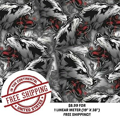 Hydrographic Water Transfer Hydro Dip Film White Wolf 1m 19 X 38