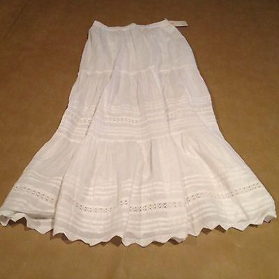 NWT Billabong Long White Skirt 100% Cotton Size Large Sexy Women NEW