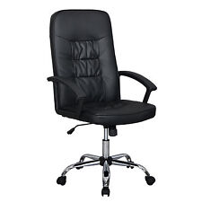 Black High Back Executive Office PU Leather Ergonomic Chair Computer Desk T63