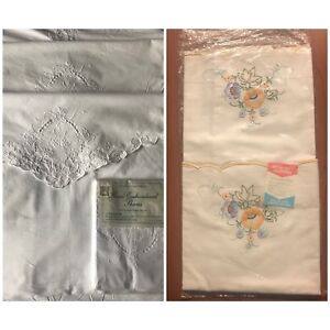 3 sets of embroidered pillowcases
