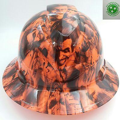 Full Brim Hard Hat Custom Hydro Dipped New Sinister Joker Orange Hot New