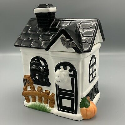 King May Haunted Halloween Ghost House Ceramic 3D Cookie Jar Spooky Black Cat