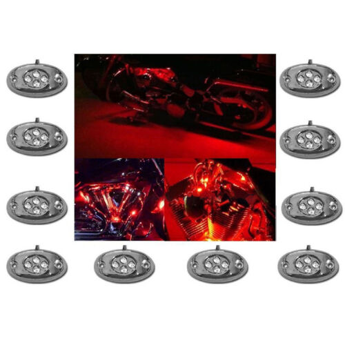 10Pc Red LED Chrome Modules Motorcycle Chopper Frame Neon Glow Lights Pod Kit