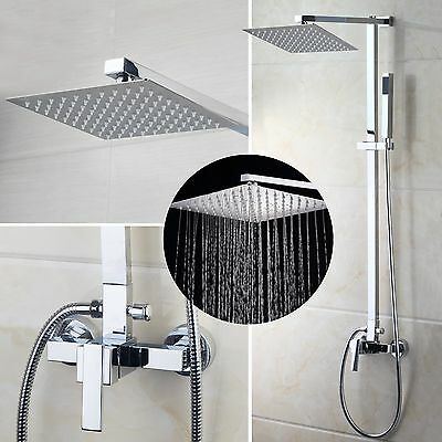 "US 8"" Bathroom Precipitation Shower Faucet  Valve Mixer Hand Sprayer Wall Mount Tap Set"
