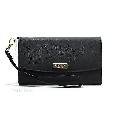 Kate Spade Newbury Lane phone Wallet Saffiano Leather Wristlet Black Clutch NWT