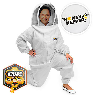 Professional Cotton Full Body Beekeeping Suit W Supporting Veil Hood - X Large