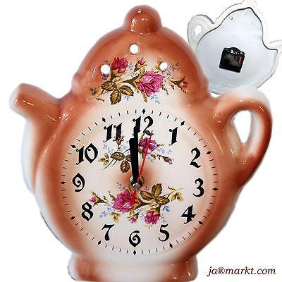 Wanduhr für die Küche - Küchenuhr Keramik - Teekanne-Uhr im Landhausstil Rose Die Rosen Küche