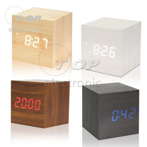 Wood Cube Clock LED Alarm Voice Control Digital Desk Bedside