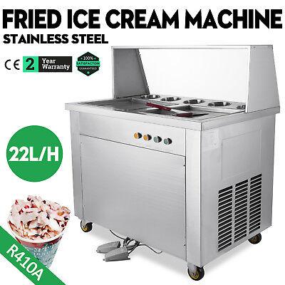 Double Pan 5 Box Fried Ice Cream Machine Thai Roll Ice Cream 22lh Yogurt Making