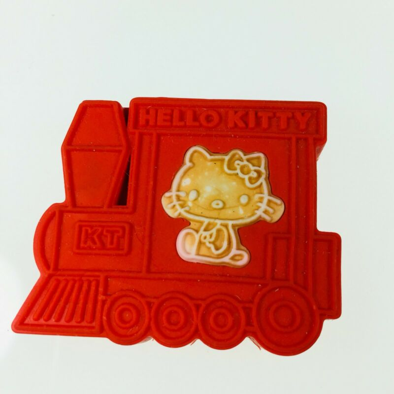 Vintage Sanrio 1976 Hello Kitty Pencil Eraser Red Train Engine W/ Pop Out Kitty