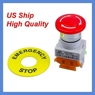 660v Self Locking Cnc Mushroom Cap Emergency Stop Push Button Switch Nonc Us