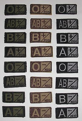 Condor 229 Blood Type Patch A B AB O POS NEG Coyote Tan OD Green Black FG