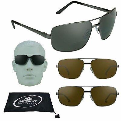 Herren Quadratisch Aviator Polarisiert Bifokale Sonnenbrille Leser Feder Hinge