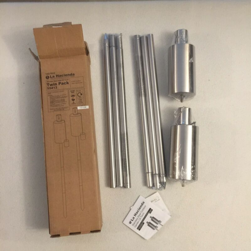 %F0%9F%94%A5La+Hacienda+Stainless+Steel+Stake+Oil+Torch+%28Twin+Pack%29+Garden+%F0%9F%94%A5+New+Sealed