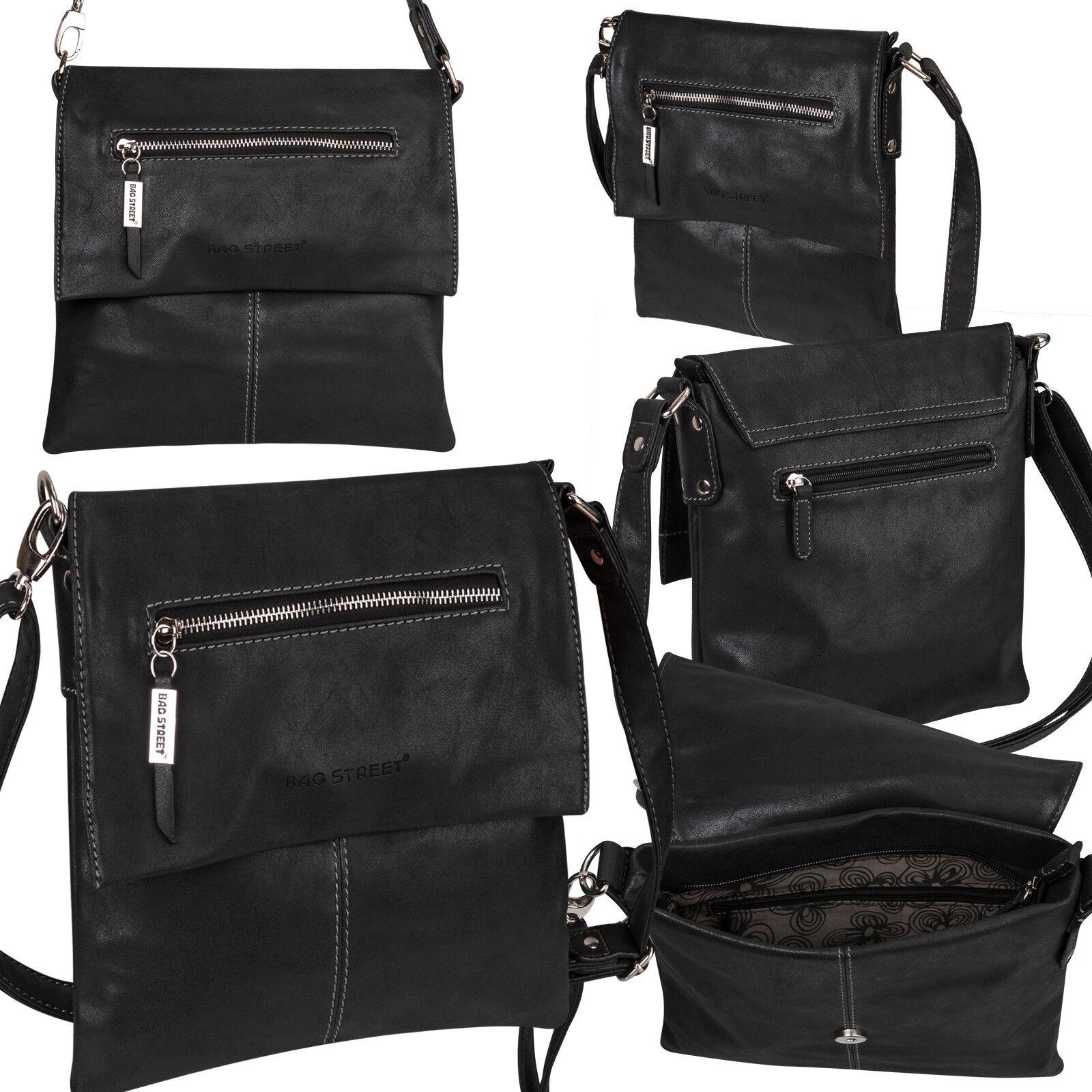 Bag Street Damentasche Umhängetasche Handtasche Schultertasche K2 T0102 Schwarz