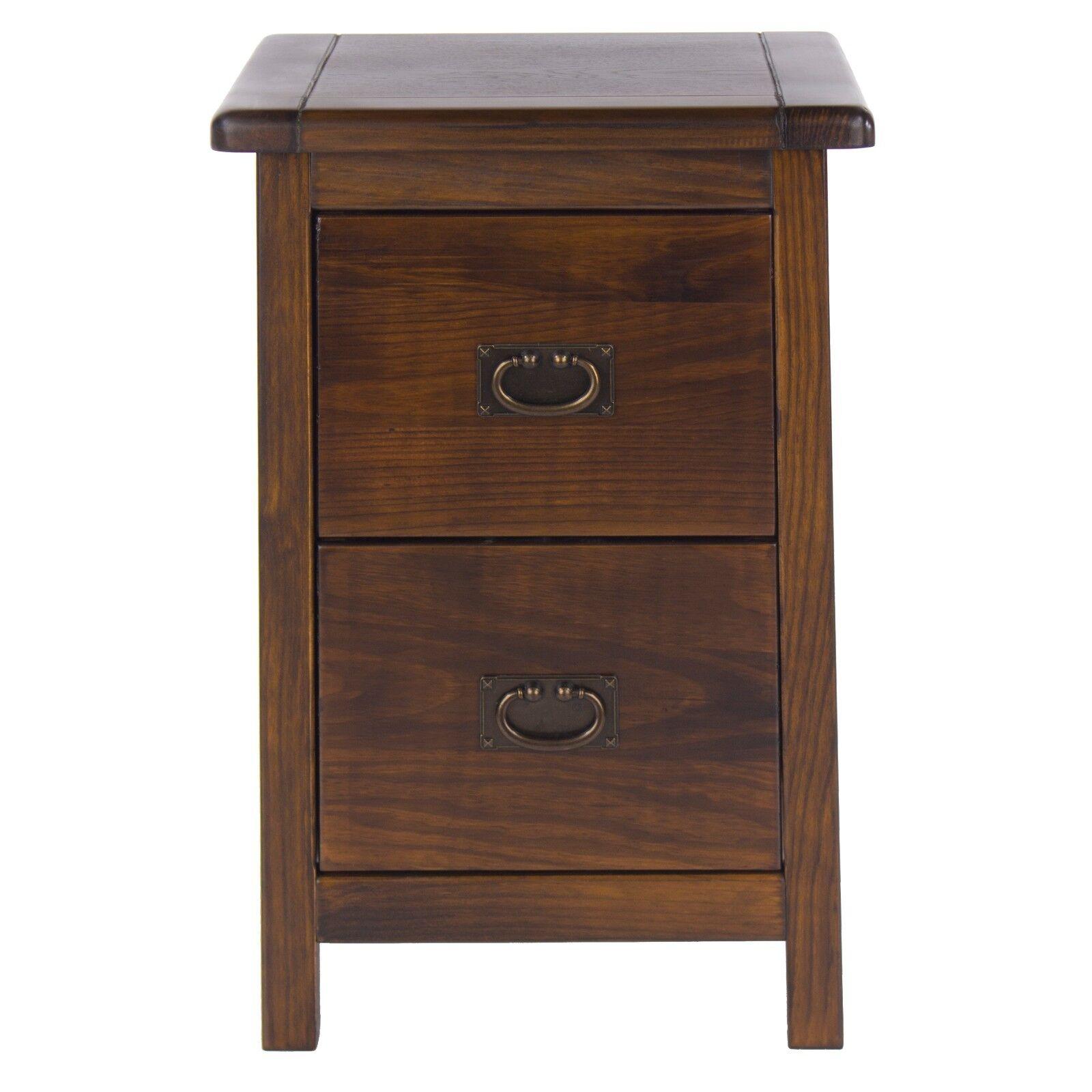 Baltia Dark Wood 2 Drawer Bedside Cabinet Table Solid Storage Bedroom