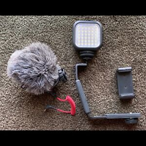 Rode VideoMicro Microphone, Godox light, phone mount, mic