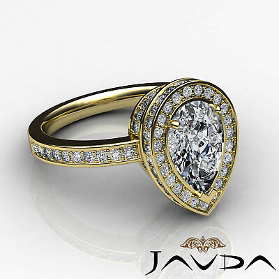 Circa Halo Pave Pear Shape Diamond Engagement Ring GIA Certified G SI1 2.05 Ct 8