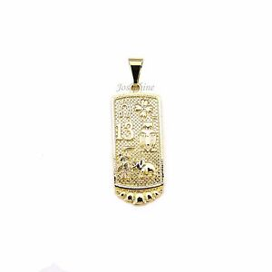 14k Gold Plated Rectangle Lucky Design Amulet Charm Pendant Good Luck