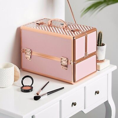 "Beautify Pink Rose Gold 14"" Train Case Cosmetic Makeup Organizer Storage Box"